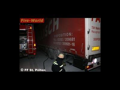 LKW brennt wegen überhitzter Bremsen