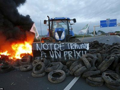 Во Франции водители-дальнобойщики заблокировали автотрассы по всей стране