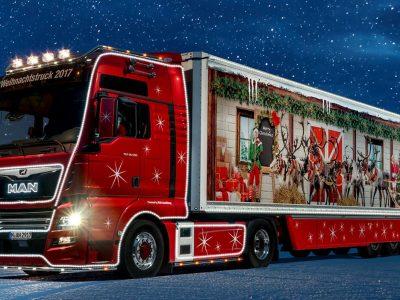 MAN schickt einen festlich geschmückten LKW auf Weihnachtstour