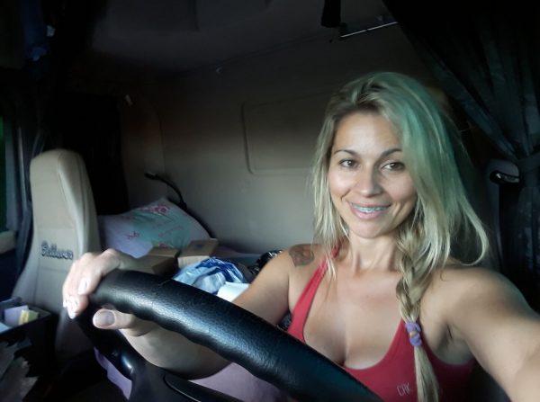 Brazilian trucker on the road. Sheila Bellaver lets us into her cabin