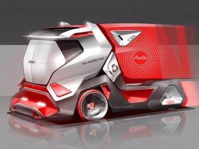 Ateities sunkvežimio futuristinė vizija, balninis vilkikas su pritaikyta priekaba