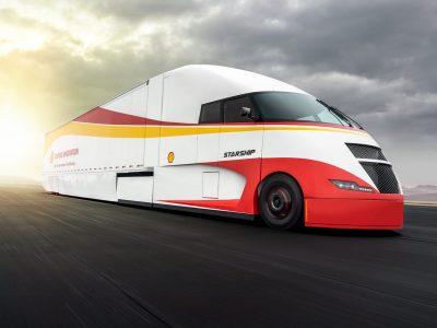 Starship, ein futuristischer LKW mit zwei Motoren