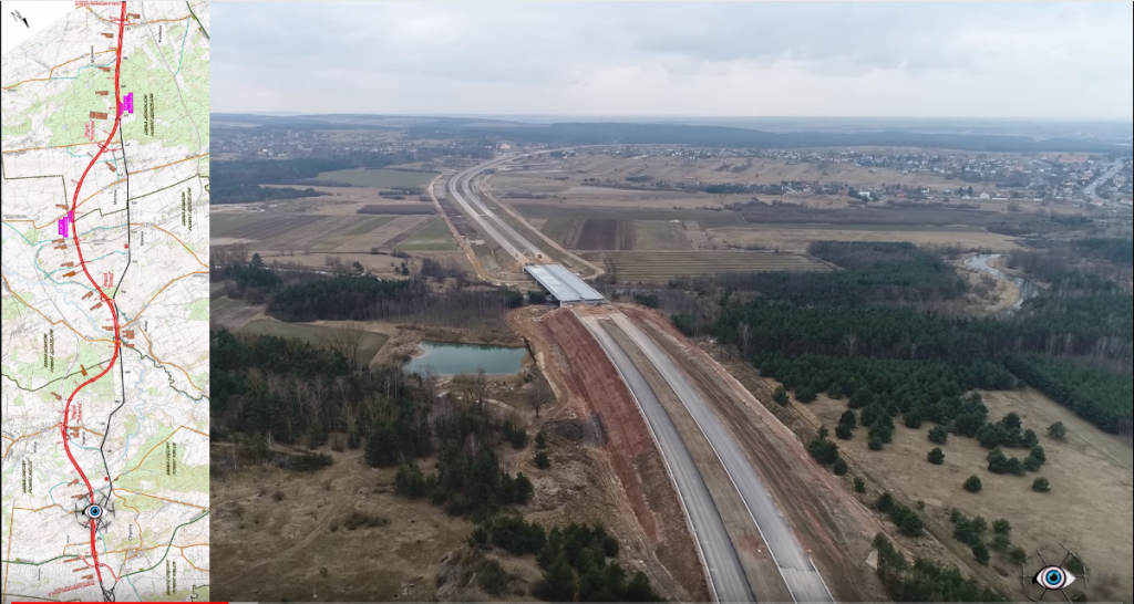 Budowa ekspresówki S7 widziana z lotu ptaka. Zobacz imponujące ujęcia z drona