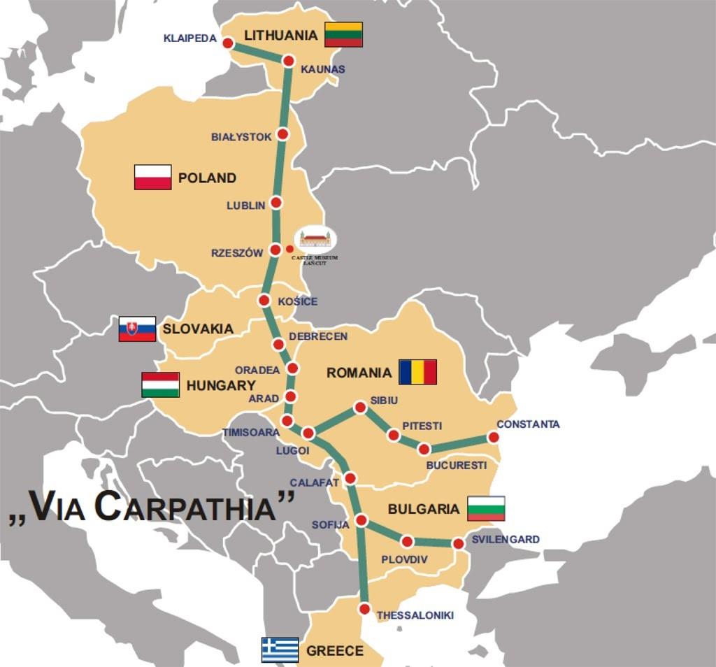 Przebieg trasy Via Carpatia