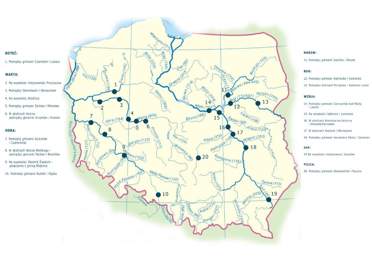 """Mapa planowanych inwestycji z programu """"Mosty Plus"""""""