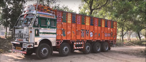 Driving art work straight from India. See the interior of an Asian truck