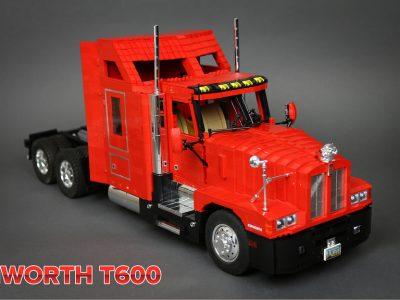 Sunkvežimio modeliukas pastatytas iš kelių tūkstančių elementų. Rodomas titaninis sunkvežimių mėgėjo darbas