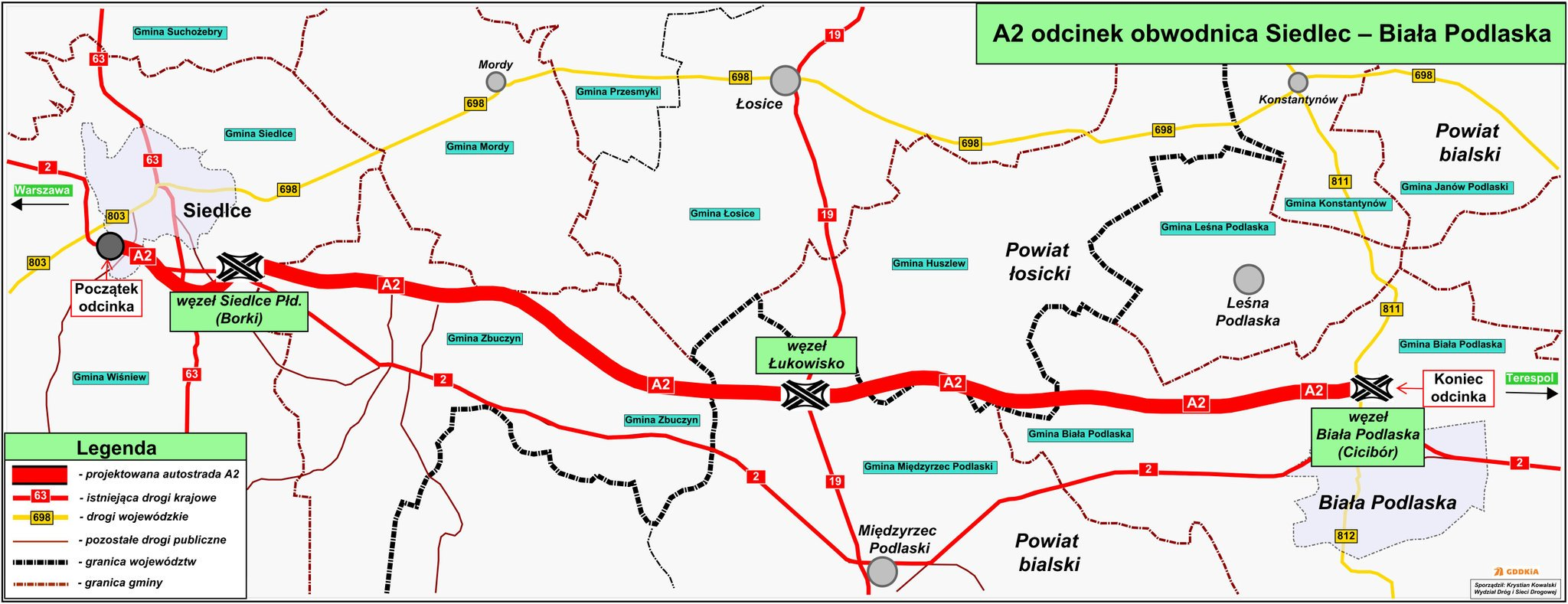 Kolejny odcinek autostrady A2, 63-kilometrowy fragment od obwodnicy Siedlec do Białej Podlaskiej ma być gotowy za 6 lat. Dziś zawarta została umowa, na opracowanie koncepcji trasy, której budowa pochłonie 3 mld zł. Resort infrastruktury przedstawił mapę przebiegu nowego odcinka.