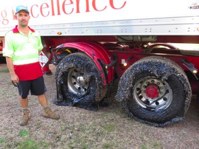 Incident neprevăzut: Căldura a topit anvelopele camioanelor