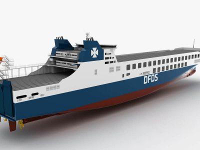 Neue Fähre wird für DFDS Reederei 450 LKW-Anhänger befördern