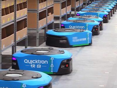 Forgó robotok az Alibaba raktárában. Hála nekik, az embereknek kevesebb dolguk van