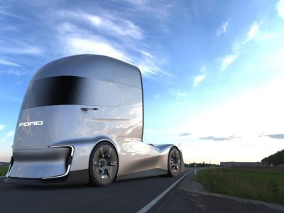 Ford presents the truck of the future. F-Vision cabin like RoboCop's head