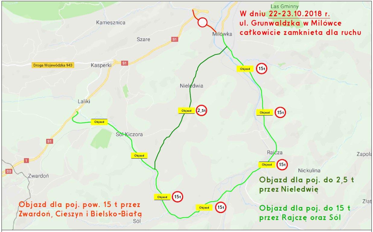 Kierowcy jadący dzisiaj drogą ekspresową S1 w stronę granicy ze Słowacją napotkają na utrudnienia. To efekt prowadzonych prac na drodze S1 w Milówce (woj. śląskie). W związku z tym, wyznaczono objazd dla samochodów ciężarowych. Pojazdy o DMC pow. 15 t są kierowane do przejścia granicznego w Cieszynie, na S52. Alternatywną trasę dla ciężarówek o masie do 15 t wyznaczono przez Sól Kiczora oraz Rajczę (patrz mapa). Utrudnienia potrwają do jutra, do godz. 17. Mapa: twitter.com/GDDKiA_Katowice