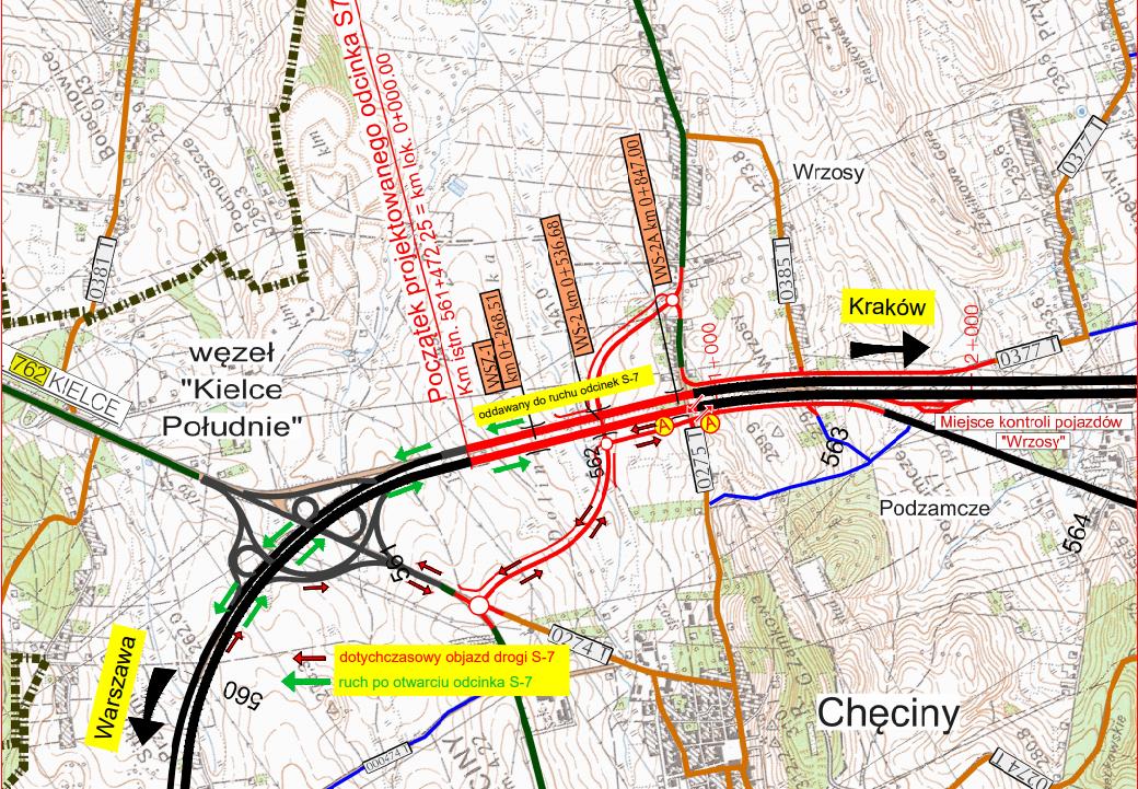 Od dzisiaj kierowcy mogą poruszać się kilometrowym fragmentem S7 między węzłem Kielce Południe w Chęcinach, a otwartym we wrześniu 9-kilometrowym fragmentem tej ekspresówki na trasie Chęciny – Brzegi. W obrębie węzła Kielce Południe wprowadzono nową organizację ruchu, która zakłada otwarcie wszystkich łącznic. Dzięki temu kierowcy nie muszą już korzystać z uciążliwego objazdu. Przypomnijmy, że cały 22-kilometrowy fragment S7 na trasie Chęciny – Jędrzejów ma być przejezdny do końca tego roku. Mapa: gddkia.gov.pl