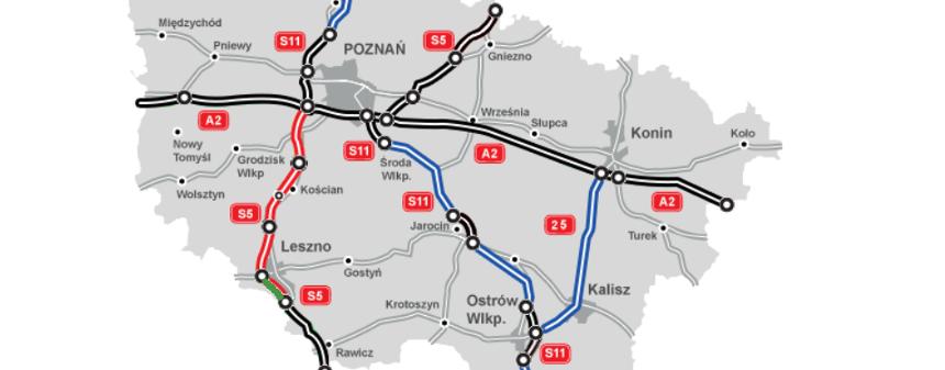 Mapa dróg w Wielkopolsce