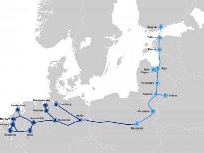 """Užbaigta svarbi europinės vėžės """"Rail Baltica"""" statybų atkarpa ties Kaunu"""