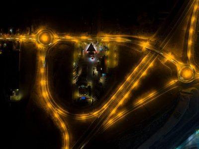 Așa arată de sus, pe timp de noapte, nodul rutier Lancrăm (Sebeș Nord)