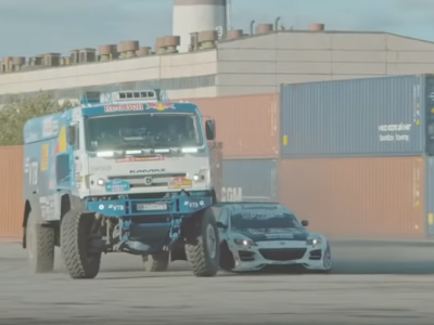 9-tonne Kamaz and Mazda racing in a joint drift. See an amazing race