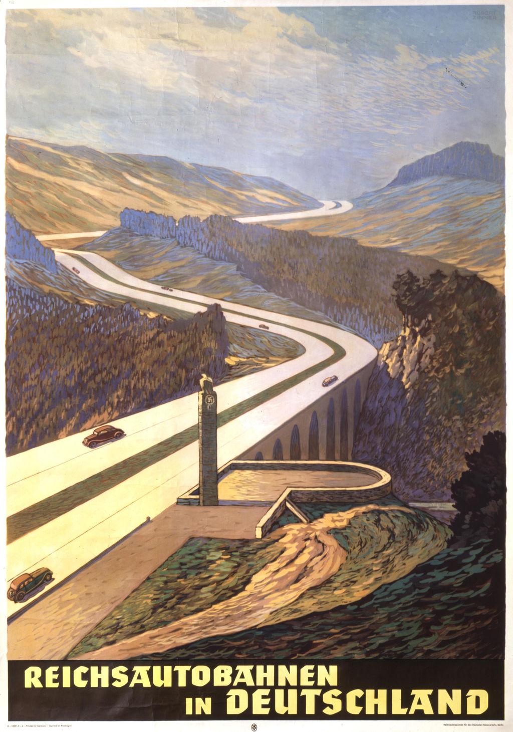 Przedwojenny plakat propagujący niemieckie autostrady