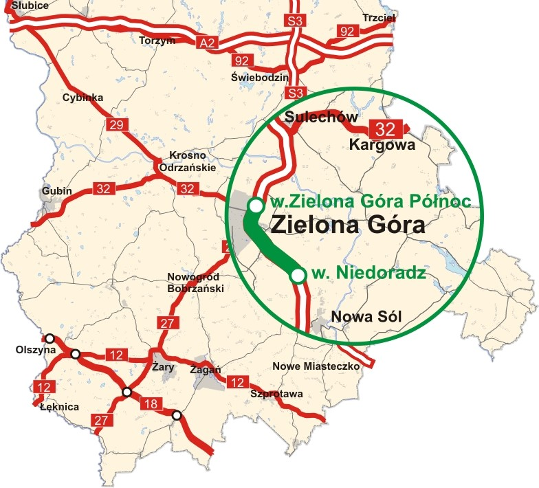 Dzisiaj została oddana do użytku kierowców druga jezdnia ponad 13-kilometrowego odcinka drogi ekspresowej S3 na trasie Zielona Góra Północ – węzeł Niedoradz. W ramach inwestycji powstała wschodnia (w kierunku Zielonej Góry) jezdnia oraz zmodernizowano nawierzchnię istniejącej jezdni zachodniej. Dodatkowo wybudowano łącznik między węzłem Zielona Góra Północ a rondem na drodze nr 282. Całkowity koszt budowy wyniósł 211 mln zł. mapa: mi.gov.pl
