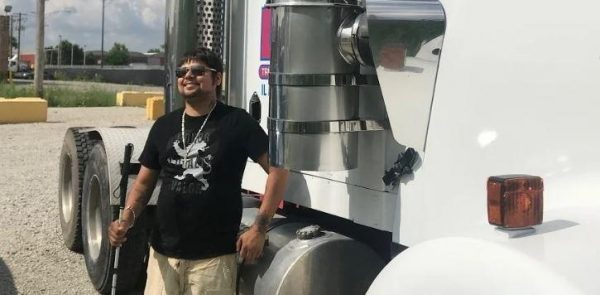 Trucker who lost his sight keeps working in the transport industry. Disability does not stop him fro