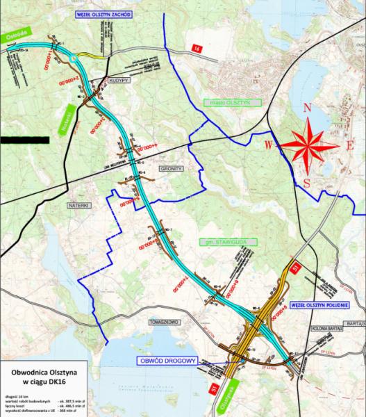 Kierowcy od dzisiaj będą mogli jeździć pierwszym odcinkiem południowej obwodnicy Olsztyna (w ramach