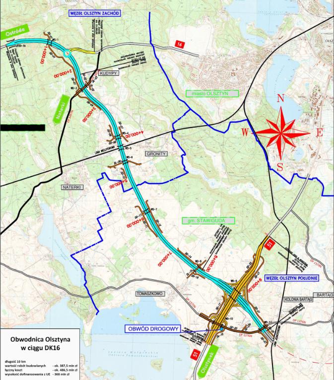 Kierowcy od dzisiaj będą mogli jeździć pierwszym odcinkiem południowej obwodnicy Olsztyna (w ramach drogi krajowej nr 16). Oddana do użytku 10-kilometrowa trasa połączyła węzeł Olsztyn Zachód z węzłem Olsztyn Południe. Dwujezdniowa droga klasy GP (droga główna ruchu przyspieszonego), kosztowała ok. 473 mln zł. Drugi odcinek obwodnicy nadal jest w budowie. Według najnowszych informacji ponad 16-kilometrowy fragment na trasie Olsztyn Wschód – Olsztyn Południe ma zostać otwarty dopiero w kwietniu 2019 r. mapa: gddkia.gov.pl