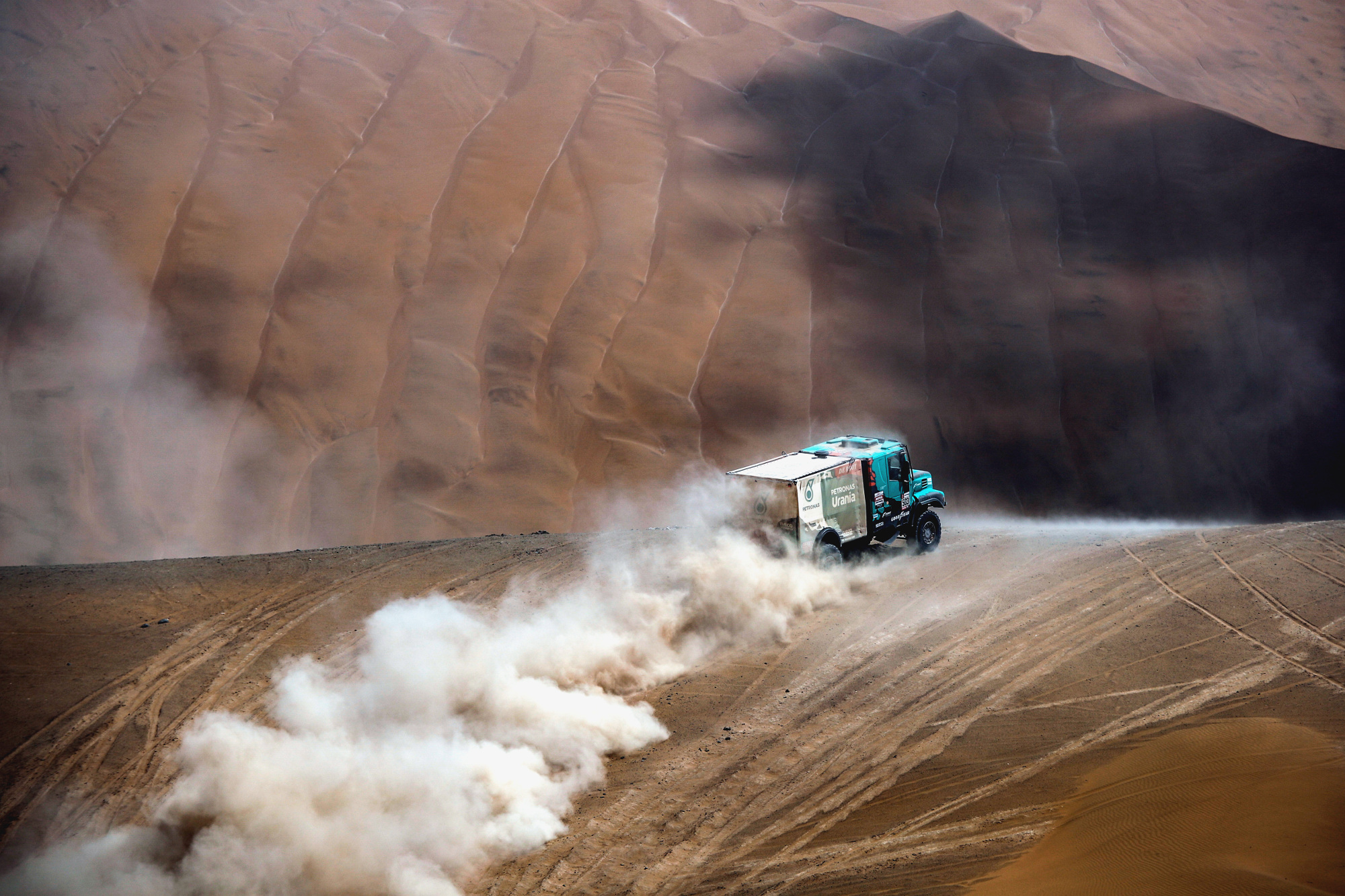 503 DE ROOY Gerard (nld); RODEWALD Darek (pol); TORRALLARDONA Moises (spa); Iveco; Petronas Team de Rooy Iveco; Truck; Camion; action during the Dakar 2019; Stage 5; Tacna - Arequipa; peru; on january 11 - Photo