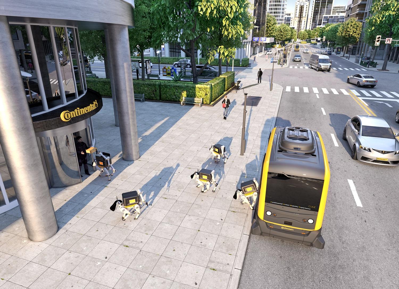 Roboty wyglądem przypominające psy to nowy pomysł firmy Continental. Ich zadaniem będzie dostarczanie przesyłek bezpośrednio do rąk klientów. To nowe rozwiązanie dla branży kurierskiej, niemiecka spółka postanowiła połączyć ze swoim wcześniejszym wynalazkiem – autonomiczną i w pełni elektryczną ciężarówką Continental Urban Mobility Experience (CUbE, z ang. kostka). Według koncepcji koncernu, te niewielkie pojazdy będą przewozić roboty-psy do wyznaczonych miejsc docelowych, by te bez trudu mogły zanieść przesyłki odbiorcom. Fot. continental-corporation.com