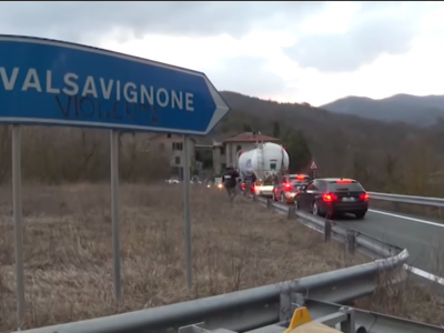 Traffic restrictions in Tuscany. Overpass on the European E45 route in Italy closed