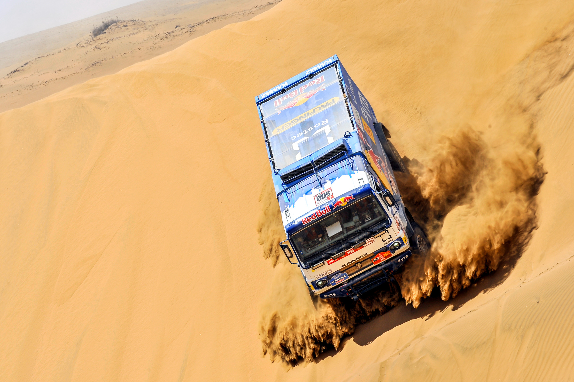 500 NIKOLAEV Eduard (rus); IAKOVLEV Evgenii (rus); RYBAKOV Vladimir (rus); Kamaz; Kamaz - Master; Truck; Camion; action during the Dakar 2019; Stage 5; Tacna - Arequipa; peru; on january 11