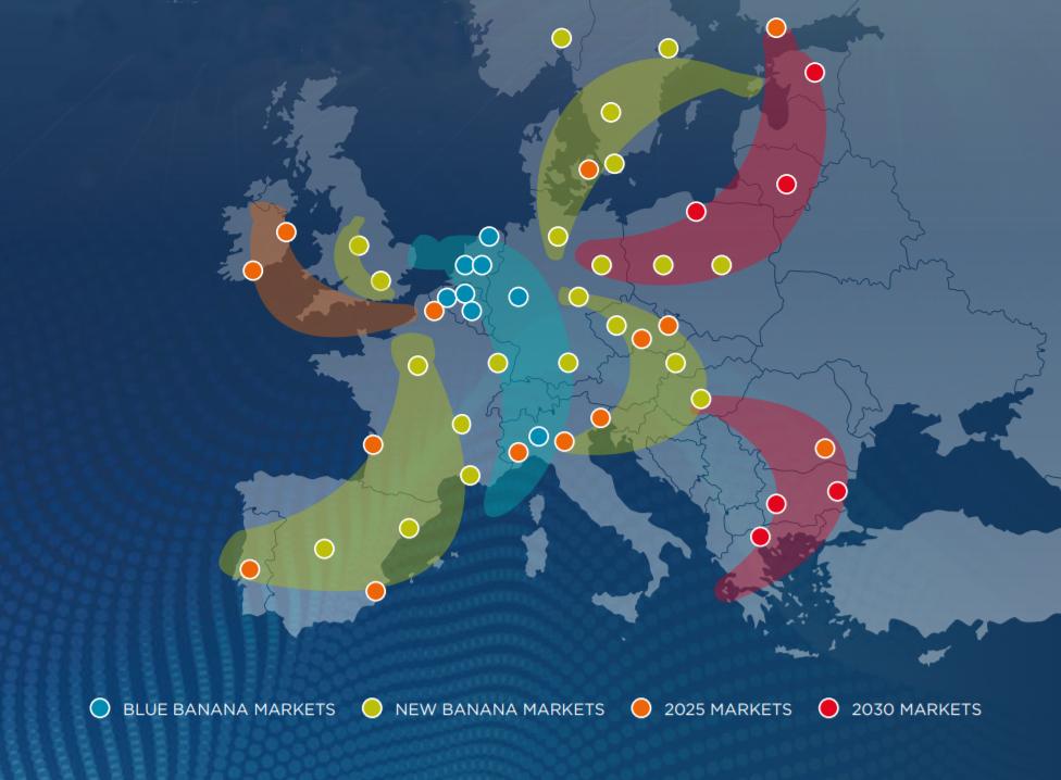 Mapa przyszłych korytarzy transportowych w Europie do 2030 r.