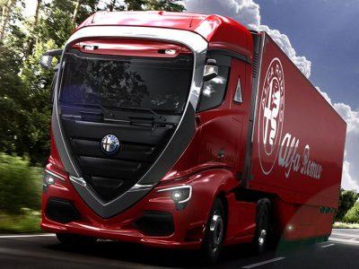 """""""Alfa Romeo"""" vilkikas? Štai kaip atrodytų italų gamintojo sunkvežimis"""