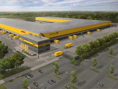 Der Rohbau für das Mega-Paketzentrum von DHL in Ludwigsfelde steht bereits