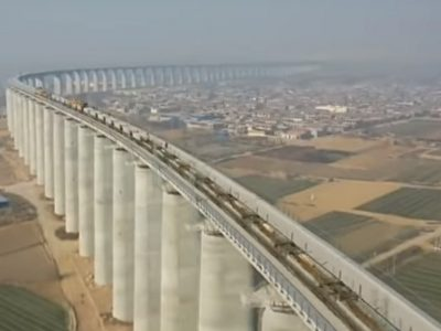 New Chinese railway line with an 8-km-long viaduct. It's a must-see.
