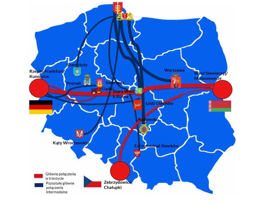 Mapa najważniejszych tras intermodalnych w Polsce