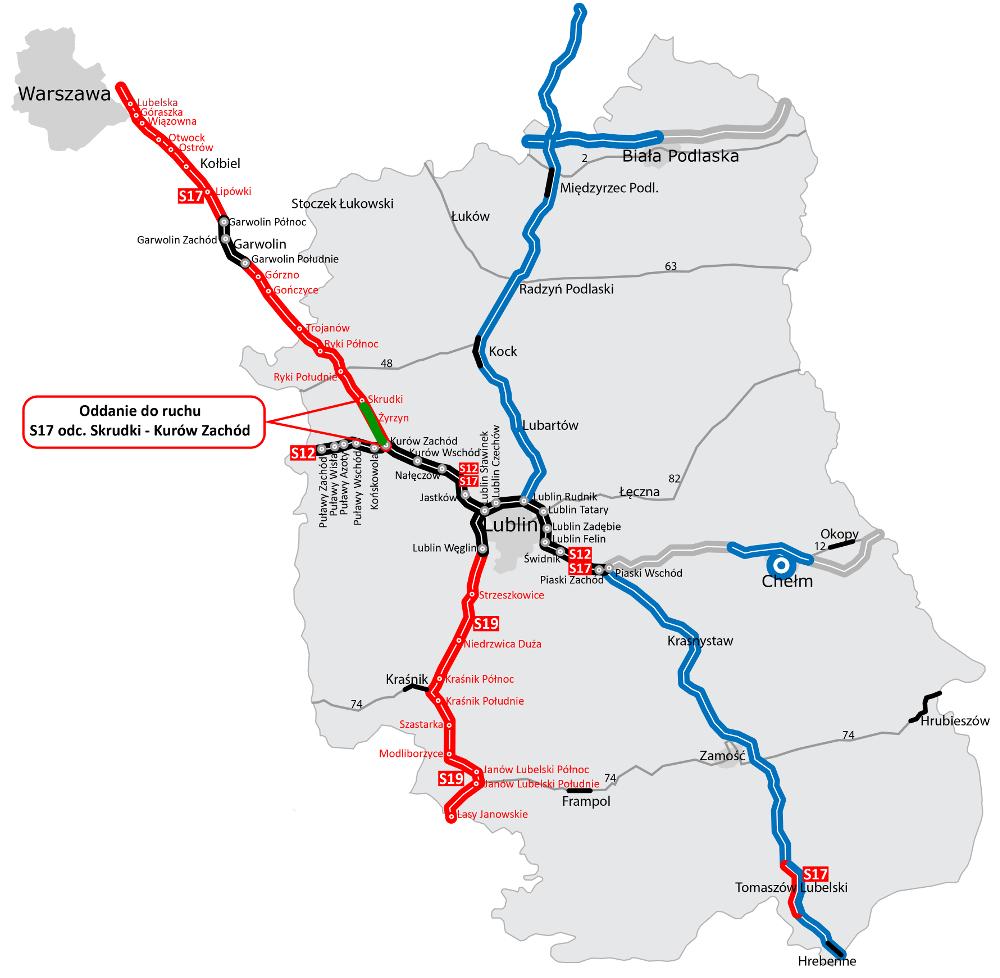 droga ekspresowa S17, lubelskie, mapa, GDDKiA