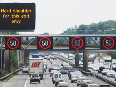 Note the red X sign on the screens of the British motorways or get a fine of £100 and 3 penalty points.