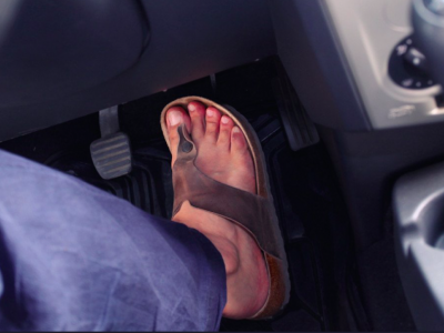 £5000 and 9 penalty points for driving in flip-flops? Wearing loose shoes can be a problem in the UK.