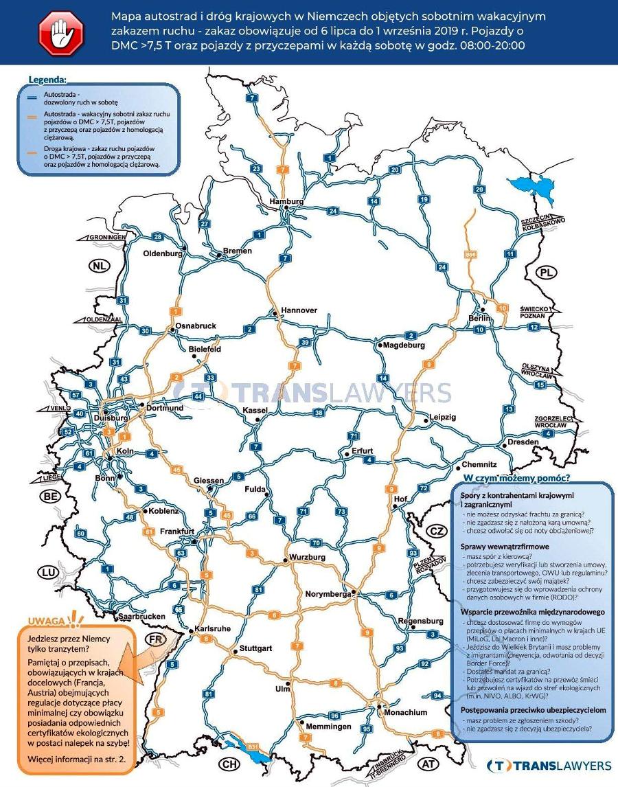 letnie zakazy ruchu dla ciężarówek, Niemcy