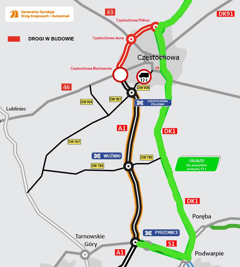 Mapa: GDDKiA