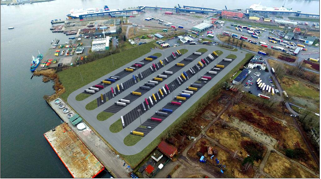 nowy parking, terminal promowy, Świnoujście