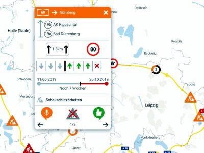 Interaktív Németország térkép az összes autópálya-munkálatokkal