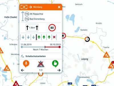 An interactive map of Germany with all the ongoing road works on the motorways