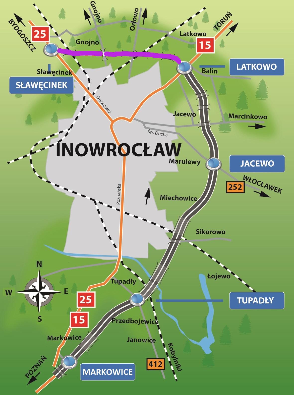 Dzisiaj od godz. 14 kierowcy mogą już korzystać z nowego fragmentu obwodnicy Inowrocławia. Prawie 5-kilometrowy odcinek omija miasto od północy i łączy się z istniejąca częścią obwodnicy o długości 19 km na węźle Latkowo. Przy okazji budowy tej części obwodnicy (w ciągu dróg krajowych nr 15 i 25) drogowcy zbudowali m.in. węzeł drogowy Sławęcinek, pięć obiektów inżynierskich oraz chodniki i zatoki autobusowe. Mapa: GDDKiA