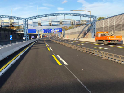 The tunnel of A7 in Hamburg closed at nights