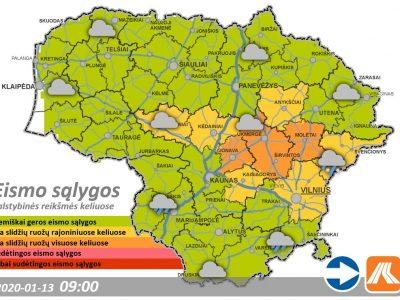 Eismo sąlygos Lietuvoje išlieka sudėtingos dėl sniego. Pažiūrėkite, kur ribotas eismas