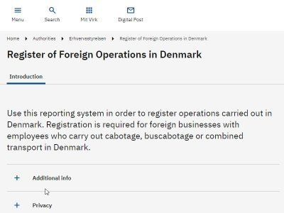 Denmark to monitor cabotage via mandatory system for registering transports