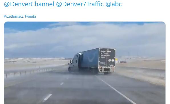 Uważajcie na silny wiatr! Zobaczcie, co gwałtowny podmuch zrobił z ciężarówką w Stanach