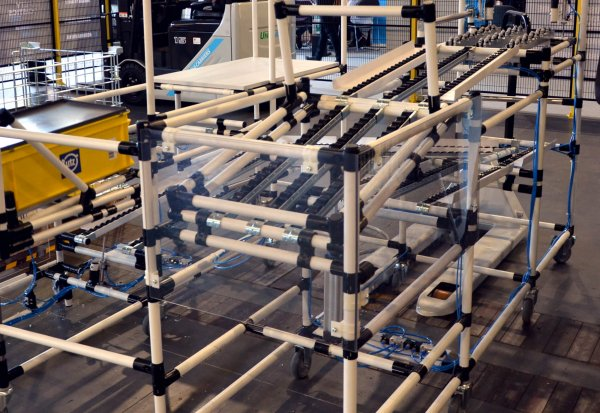 Lego-like warehouse equipment. These systems are a real hit